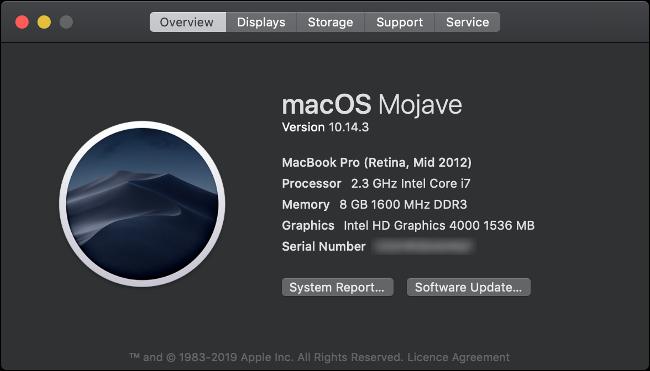 À propos de ce Mac Présentation d'un MacBook Pro 2012.