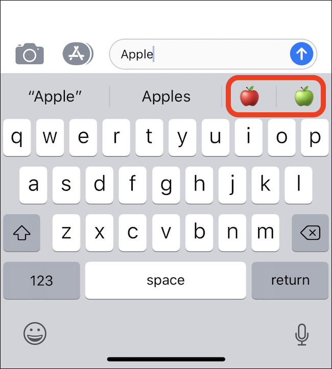 taper Apple fait apparaître les emoji de pomme sur la barre QuickType