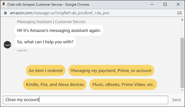 Demander au service client d'Amazon de fermer un compte.