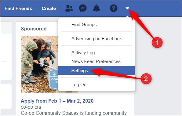 Accédez à vos paramètres Facebook.