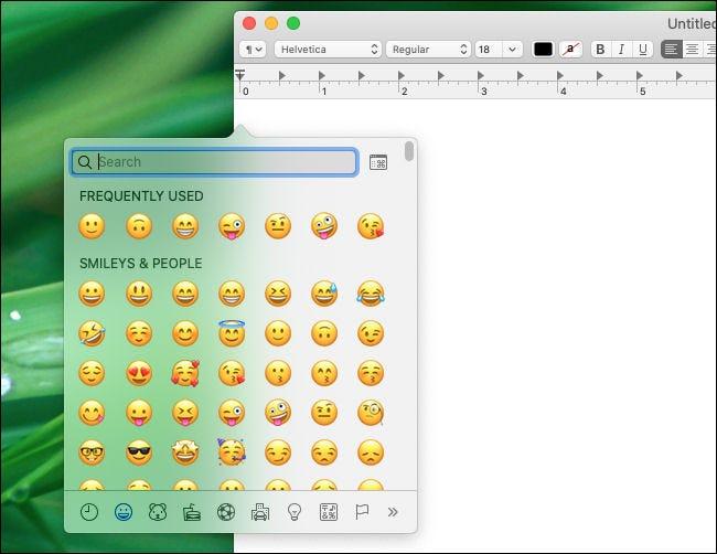 Fenêtre de sélection des émoticônes Mac