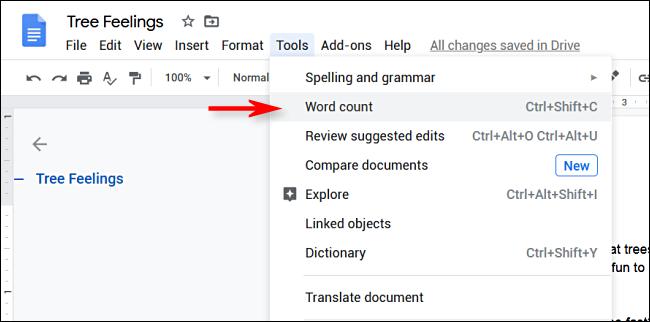 Cliquez sur Outils> Nombre de mots dans Google Docs» width=»650″ height=»322″ onload=»pagespeed.lazyLoadImages.loadIfVisibleAndMaybeBeacon(this);» onerror=»this.onerror=null;pagespeed.lazyLoadImages.loadIfVisibleAndMaybeBeacon(this);»/></p> <p>Un menu apparaîtra sur l'écran qui affiche les statistiques du nombre de mots.  Cochez la case à côté de «Afficher le nombre de mots lors de la saisie».</p> <p><img loading=