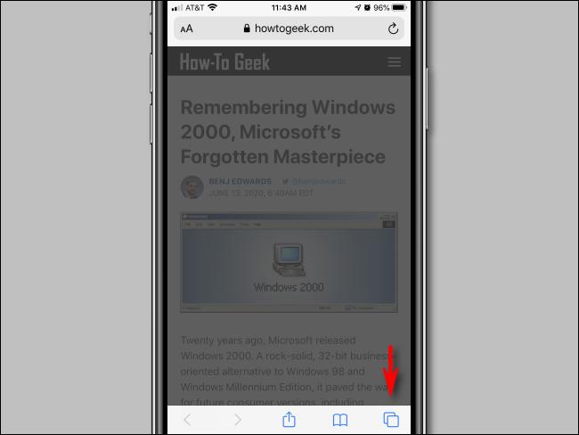 Appuyez sur ouvrir une nouvelle fenêtre dans Safari pour iPhone