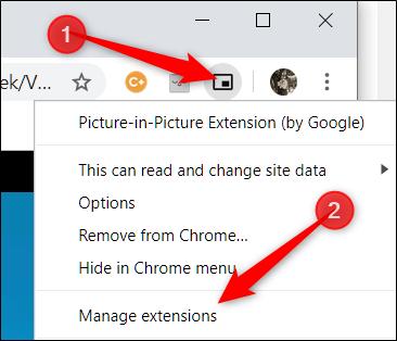 """Cliquez avec le bouton droit sur l'icône de l'extension, puis cliquez sur """"Gérez les extensions."""""""