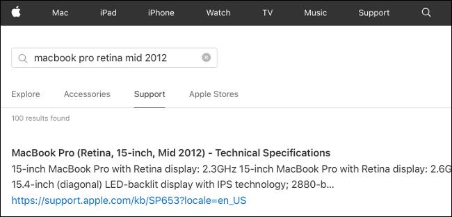 Spécifications techniques pour un MacBook Pro sur Apple.com.