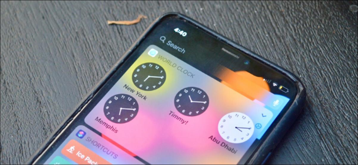 Un widget Horloge mondiale sur un iPhone