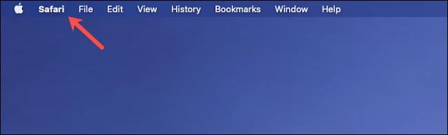 Cliquez sur Safari dans la barre de menu