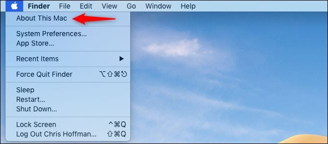 Ouverture de À propos de ce Mac à partir de la barre de menus du Mac.