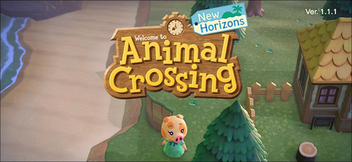 Menu de démarrage d'Animal Crossing New Horizons