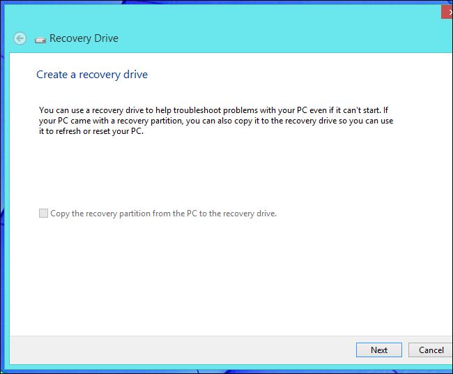 lecteur de récupération windows 8.1