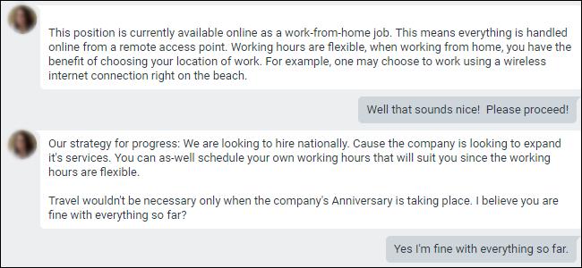 Conversation Google Hangouts montrant une offre d'emploi à domicile.