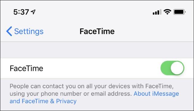 Paramètres FaceTime sur iPhone