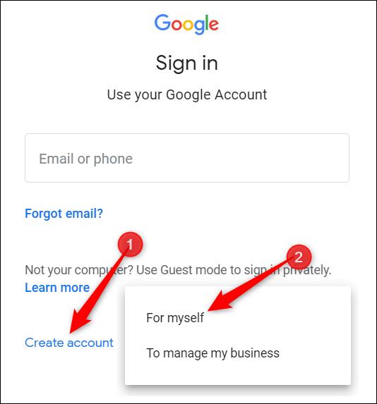 """Cliquez sur """"Créer un compte,"""" puis cliquez sur """"Pour moi-même."""""""