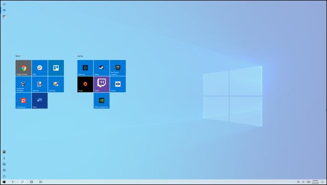 Écran de démarrage en mode tablette de Windows 10