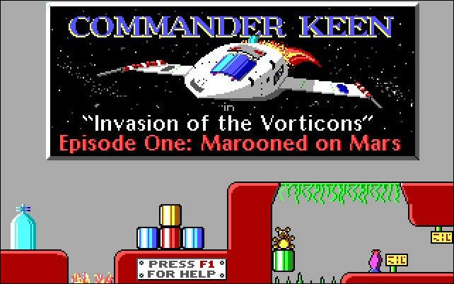 """Un vaisseau spatial sous le titre """"Commandant Keen : Invasion des Vorticons Épisode 1 : Marooned on Mars."""""""