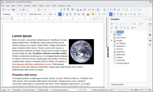 Interface de LibreOffice Writer