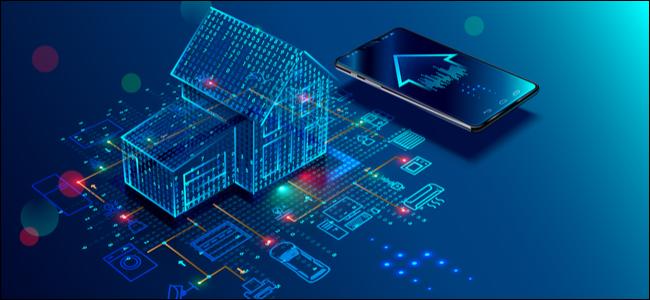 Connexion et contrôle de la maison intelligente avec des appareils via le réseau domestique.