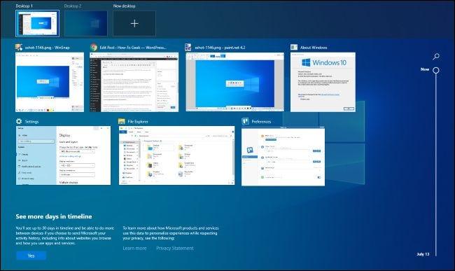 Interface d'affichage des tâches sur Windows 10.