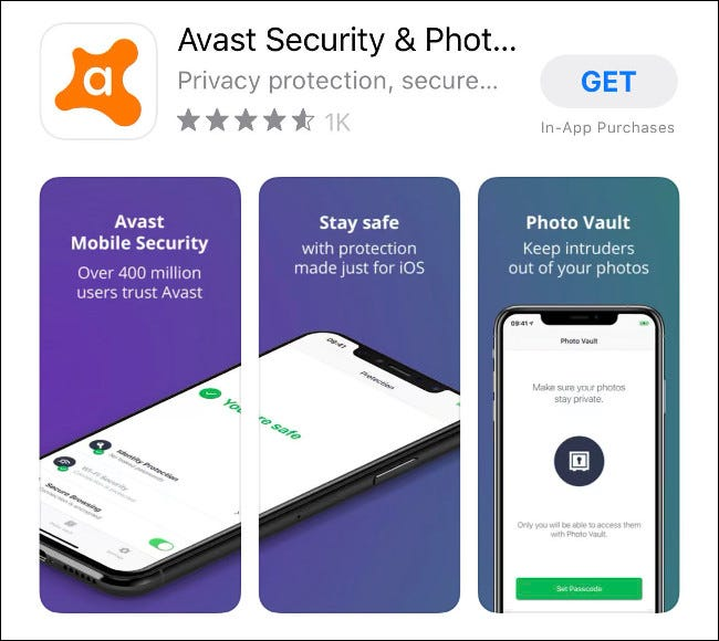 L'application Avast Mobile Security pour iOS dans l'App Store.