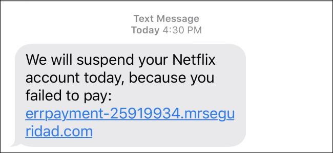 SMS d'arnaque Netflix
