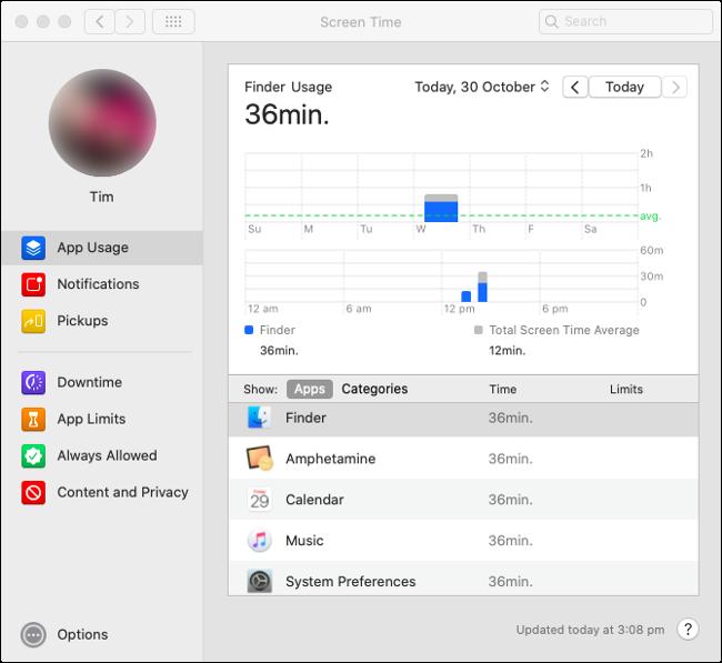 "Le temps d'écran ""Utilisation de l'application"" stats dans macOS Catalina."