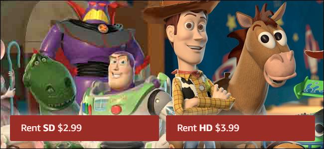 Deux versions de Toy Story, une en HD et une en SD, avec des prix différents.