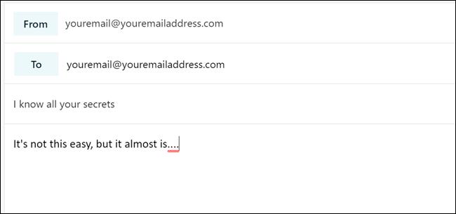 """Boîte de dialogue de rédaction d'e-mail avec """"youremail@youremailaddress.com"""" dans les deux """"De:"""" et """"À:"""" des champs."""