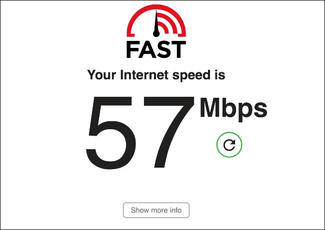 Test de vitesse FAST.com