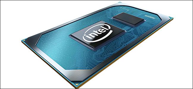 Un rendu informatique des processeurs Tiger Lake d'Intel avec une coloration bleu glacier et argent.