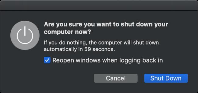 Boîte de dialogue d'arrêt de macOS