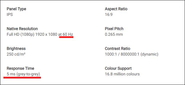 La fiche technique d'un moniteur Dell.  Notez la différence entre le taux de rafraîchissement et le temps de réponse.