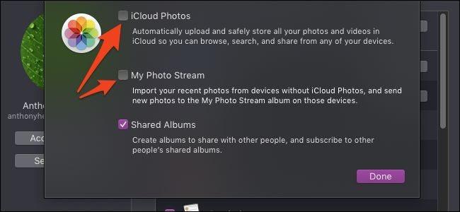 Options de photos iCloud