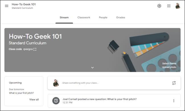 Interface Google Classroom