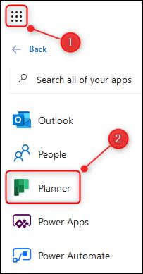 Le lanceur d'applications O365 avec l'application Planner en surbrillance.