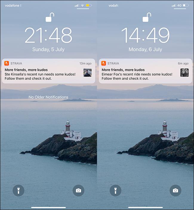 Notifications push de Strava sur un téléphone portable.
