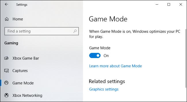 Paramètres du mode jeu sous Windows 10