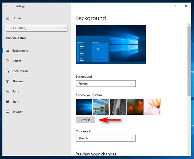 Cliquez sur Parcourir pour choisir un fond d'écran dans Windows 10