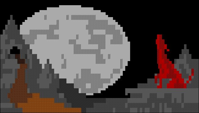 Art ANSI de la grotte BBS d'un loup rouge hurlant à la lune.