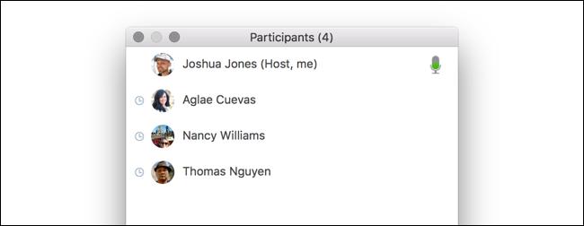 Zoomer la liste des participants montrant le suivi de l'attention sur un Mac.