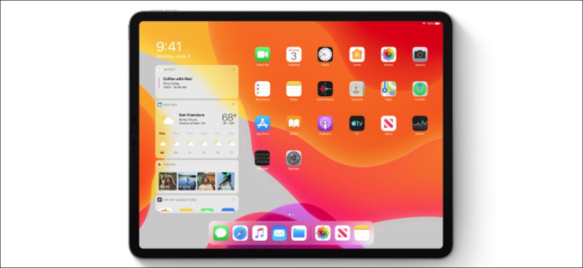 Écran d'accueil iPadOS affichant des widgets